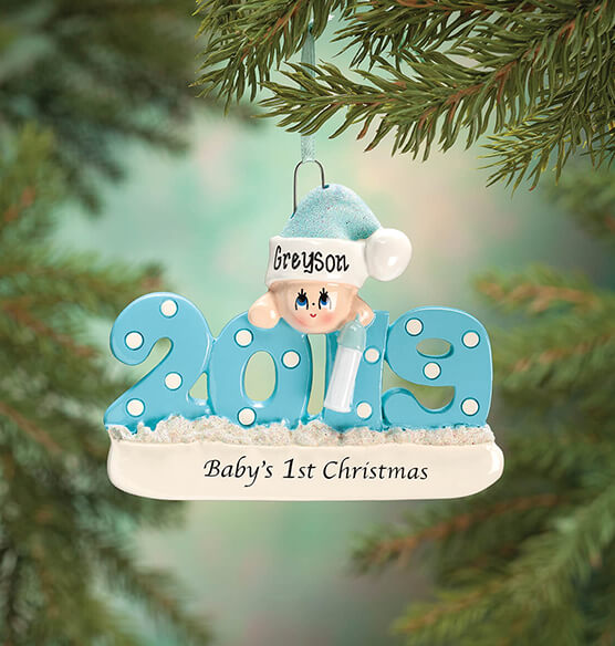 "Personalized 2019 ""Baby's 1st Christmas"" Ornament - View 2"