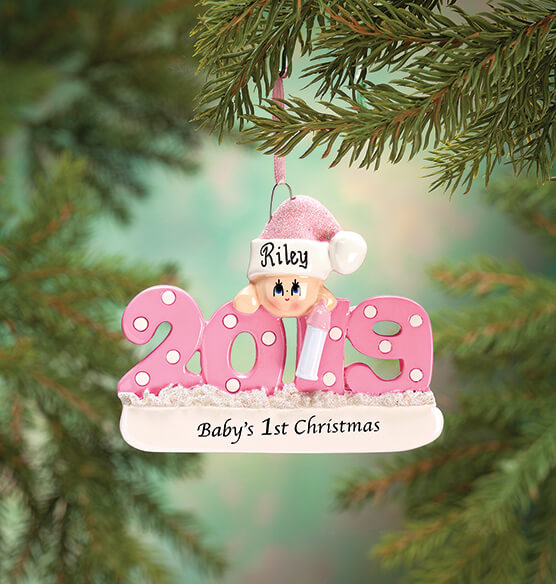 "Personalized 2019 ""Baby's 1st Christmas"" Ornament - View 3"