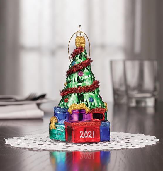 Personalized Glass Tree with Gifts Ornament - View 2