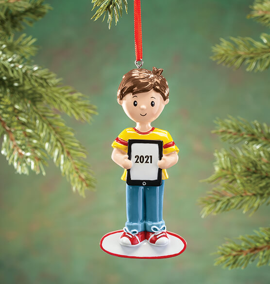 Personalized Child with Tablet Ornament - View 2