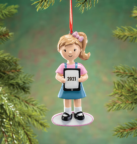 Personalized Child with Tablet Ornament - View 3