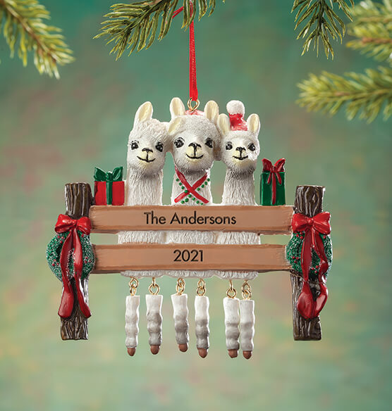 Personalized Llama Family Ornament - View 2