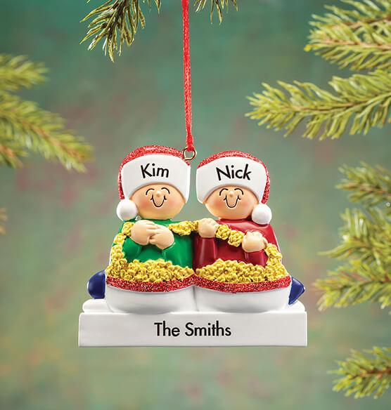 Personalized Stringing Popcorn Family Ornament - View 2