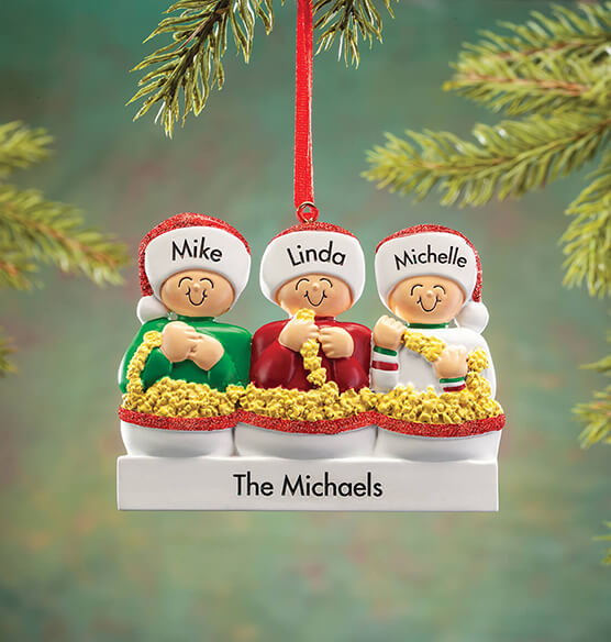 Personalized Stringing Popcorn Family Ornament - View 3