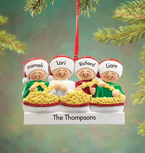 Personalized Stringing Popcorn Family Ornament - View 4