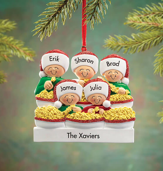 Personalized Stringing Popcorn Family Ornament - View 5