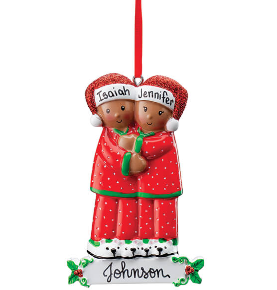Personalized Darker Skintone Family in Pajamas Ornament - View 2