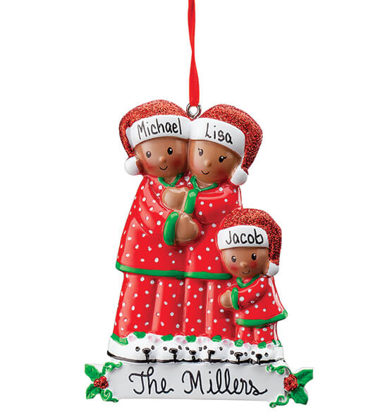 Personalized Darker Skintone Family in Pajamas Ornament - View 3