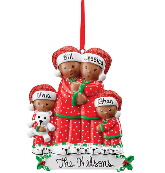 Personalized Darker Skintone Family in Pajamas Ornament - View 4