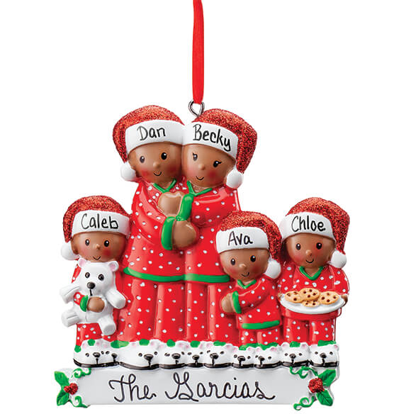 Personalized Darker Skintone Family in Pajamas Ornament - View 5