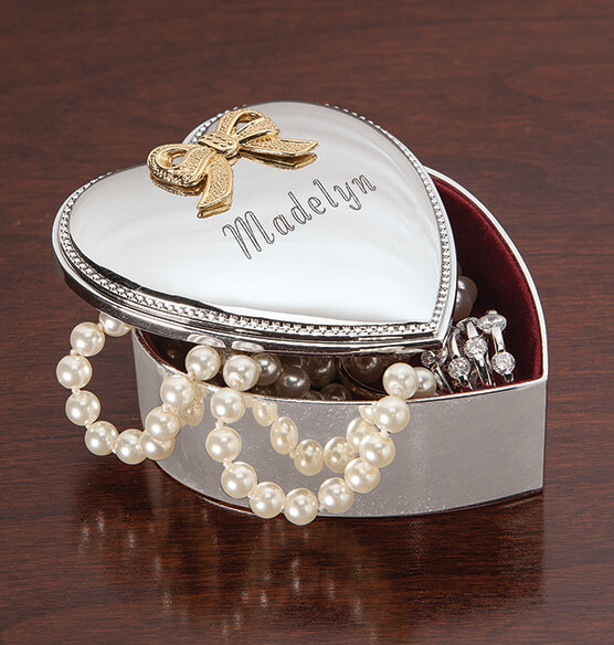 Personalized Silverplated Heart Box - View 1