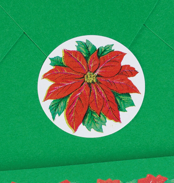 Poinsettia Seals Set of 250