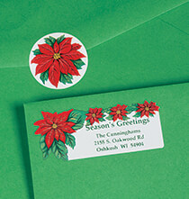 Holiday Decor - Poinsettia Labels and Seals Set