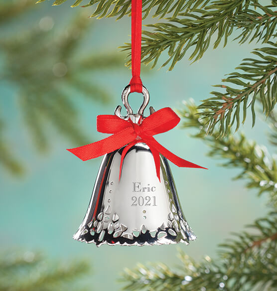 Personalized silver bell ornament christmas