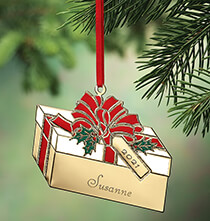 Holiday Ornaments - Personalized Brass Present Ornament