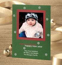 Green Retro Photo Christmas Card Set of 18
