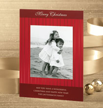 Red Stripes Photo Christmas Card Set of 18