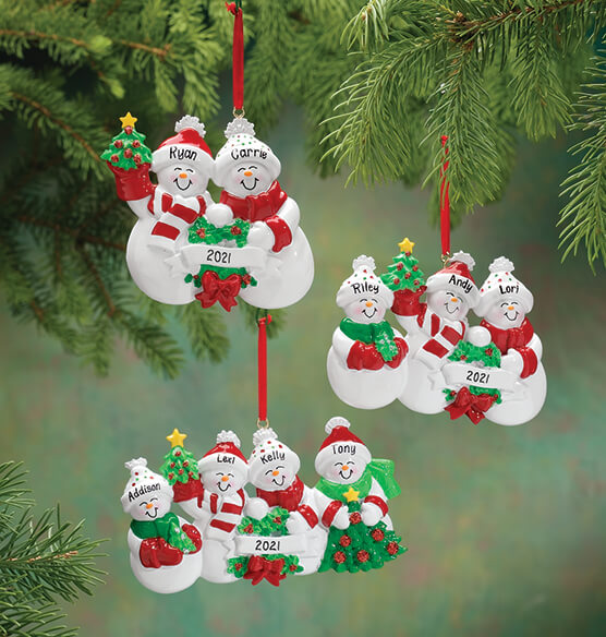 Personalized Snow Family Ornament - View 1