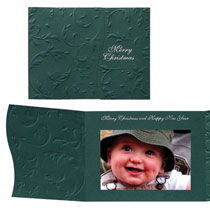 Elegant Embossed Vine Photo Christmas Card Set of 18