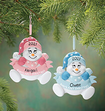 New Baby Gifts - Personalized Snowbaby's First Christmas Ornament