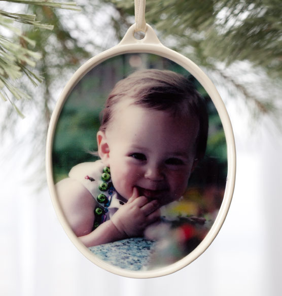 Custom Vertical Porcelain Photo Ornament - View 1
