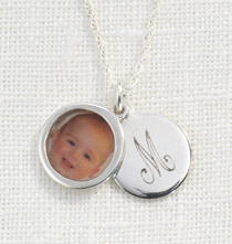 Sterling Silver Photo Locket with Initial