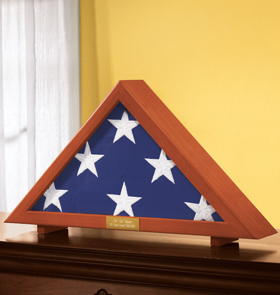 Personalized Veterans Flag Display Case - View 1