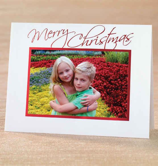 Modern Merry Christmas Script Photo Christmas Card Set Of  Photo Insert Cards Christmas