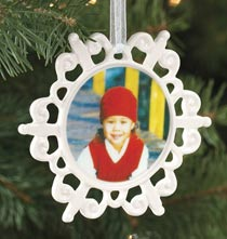 Photo Products - Custom Photo Porcelain Scalloped Snowflake Ornament