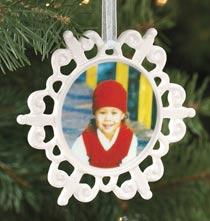 Custom Photo Porcelain Scalloped Snowflake Ornament