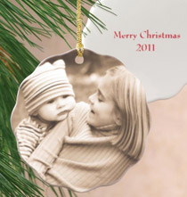 Custom Photo Porcelain Scalloped Ornament