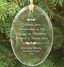 Religious Gifts - Personalized Christmas In Heaven Glass Ornament