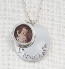 Stamped Pendant with Photo Charm