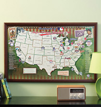 Major League Baseball Stadium Travel Map - Framed