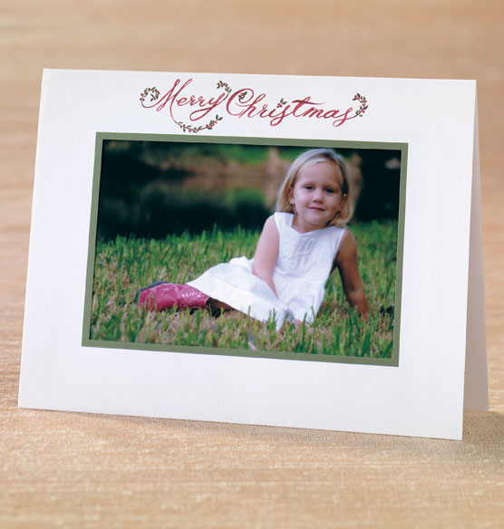 Floral Christmas Script Photo Christmas Card Set Of 18
