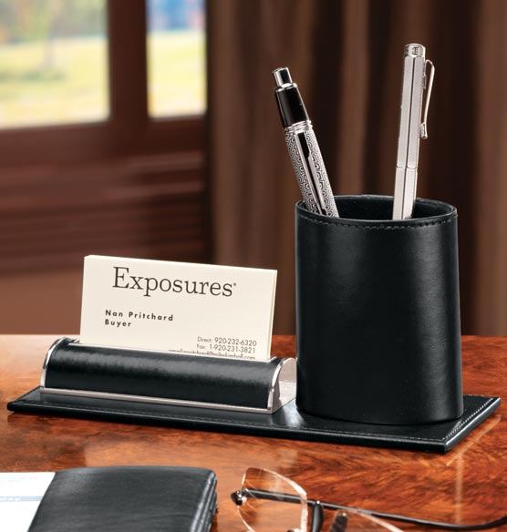 Leather Pencil Cup and Card Stand