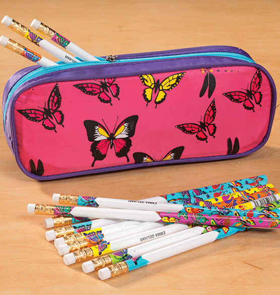 Personalized Butterfly Pencil Case and Pencil Set