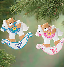New Baby Gifts - Personalized Baby's First Christmas Rocking Horse Ornament