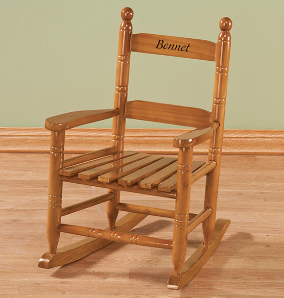 Personalized Childs Natural Rocker - View 1