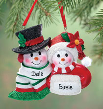 Personalized Snowmen Couple Christmas Ornament