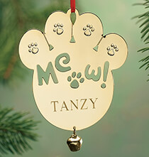 Pets - Personalized Meow Brass Ornament