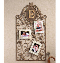Monogrammed Leaf & Scroll Wall Card Holder