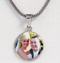 Sterling Silver Large Circle Photo Pendant