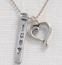 Personalized Bar & Heart Pendant