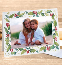 Cheerful Holly Photo Christmas Card Set of 18
