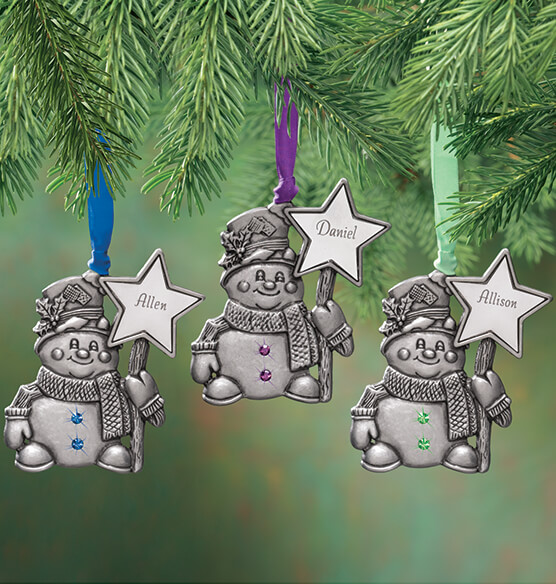 Personalized Pewter Birthstone Snowman Ornament