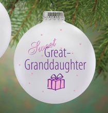 Holiday Ornaments - Personalized Sweet Great Granddaughter Ball Ornament