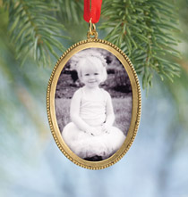 Large Oval Beaded Photo Ornament