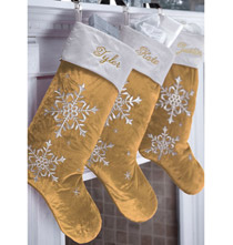 Personalized Gold Snowflake Stocking