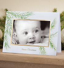 Photo Insert Cards - Watercolor Pine Photo Christmas Card set of 18